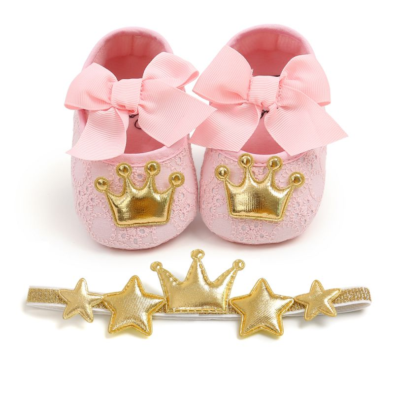 Girls Crib Shoes Baby Princess Prewalker Girls Shoes Crown Hairband Autumn Toddler First Walkers