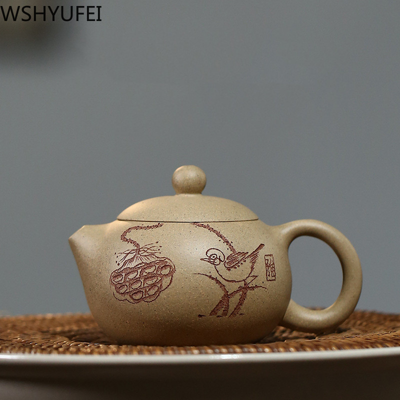 WSHYUFEI Yixing Purple Clay Teapot Xi Shi Authentic Famous Handmade Original Mine Purple Mud Tea Set Chinese Zisha Teaware 120ml