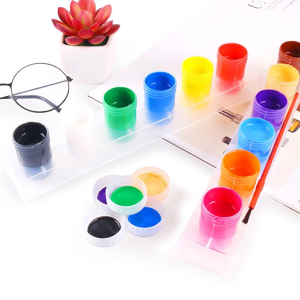 12 Colors Children Finger Painting Paints Vibrant Colors Washable Gouache Paint Doodle Set For Kids Craft Coatings Rock Coatings