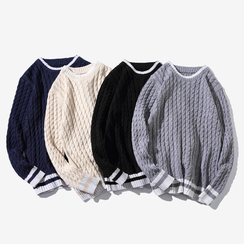 Winter New Sweater Men Warm Fashion Contrast Color Casual O-neck Knitted Pullover Man Wild Loose Long Sleeve Sweater M-6XL