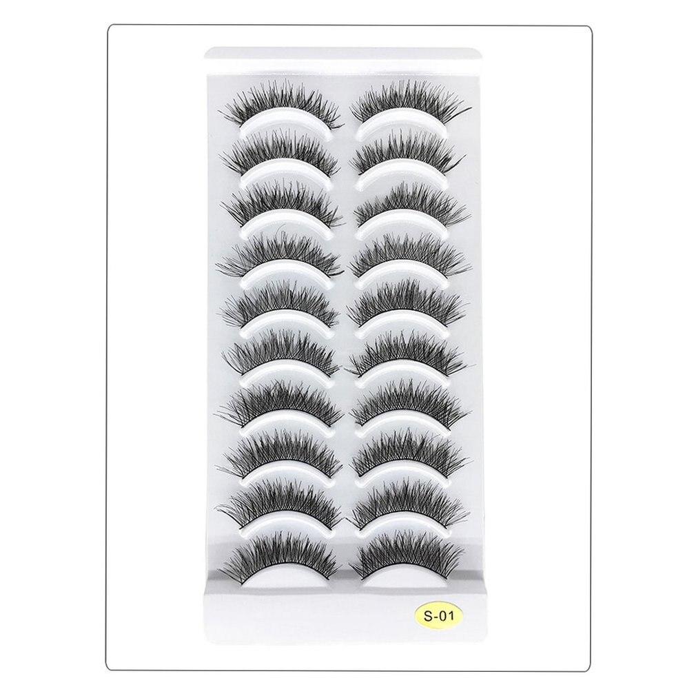 10 Pairs Of False Eyelashes Soft And Comfortable Slim Eyelashes Handmade Natural Nude Makeup False Eyelashes Natural