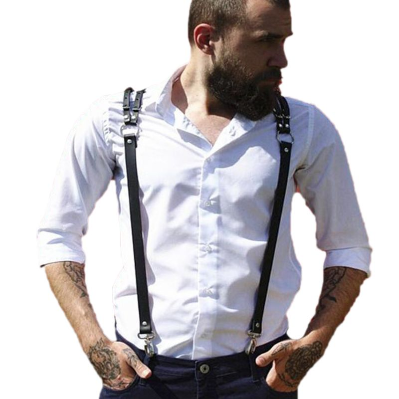 <font><b>Men</b></font> <font><b>Leather</b></font> Harness Y Suspenders <font><b>Belt</b></font> <font><b>Sexy</b></font> Punk Adjustable Body Chest Strap New image