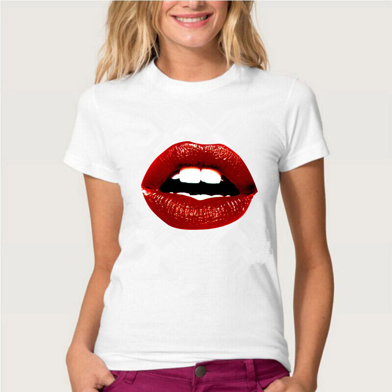 Topjini2020New Arrival Women Fashion T-shirt High Quality Female Loose Casual T-shirt Plus Size 3XL 2XL Print Sexy Mouth T-shirt