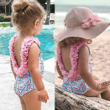 Girl swimsuit Doll Collar Swimsuit Watermelon Backless Swimsuit Jumpsuit Jumpsuit Swimwear Bathing Suit L1212(China)
