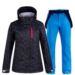 Женский лыжный костюм, Теплая Лыжная куртка, комплект со штанами, ветрозащитная водонепроницаемая куртка для сноубординга, зимние женские ...