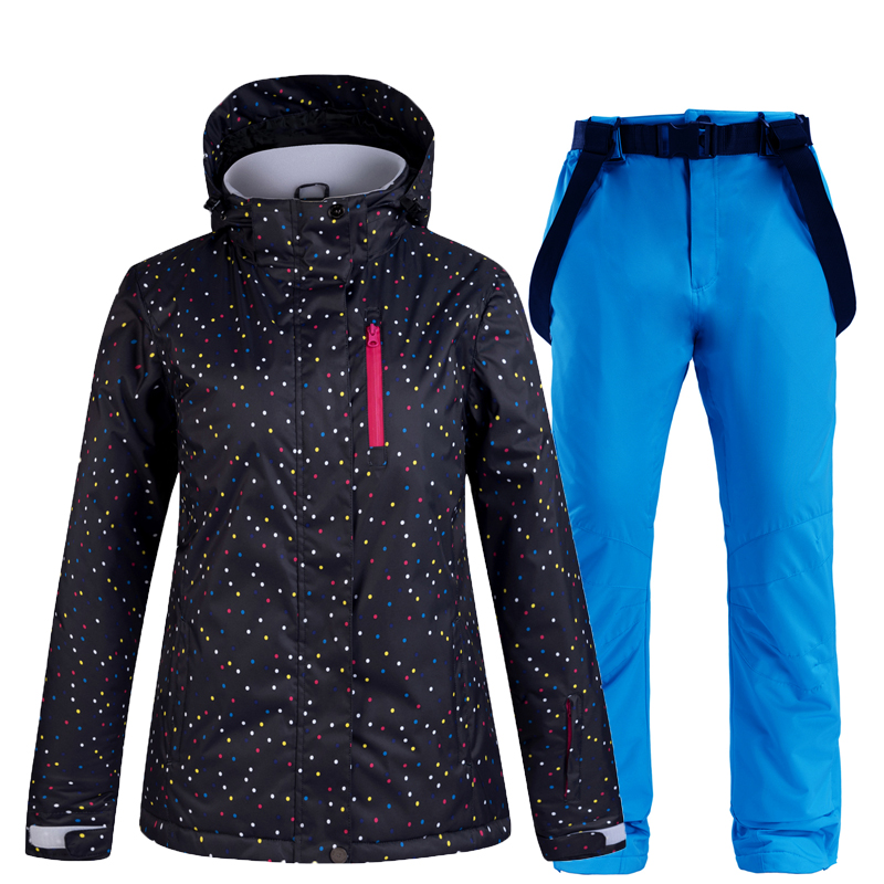Women's Ski Suit Thermal Ski Jacket Pants Set Windproof Waterproof Snowboarding Jacket Winter Female Skiing Suits Snow Coat