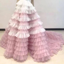 Pretty White and Pink Ruffled Tiered Puffy Tulle Long Skirts