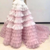 Pretty White and Pink Ruffled Tiered Puffy Tulle Long Skirts Women Zipper Style Real Image Long Tutu Bridal Skirt Custom Made
