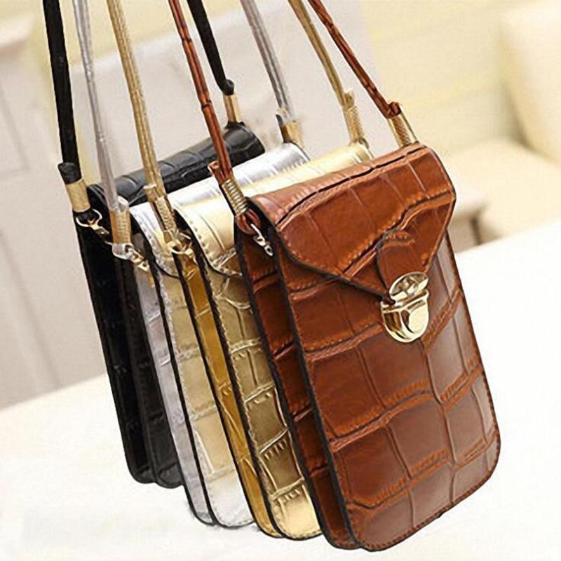 Silver Mobile Phone Mini Bags Small Clutches Shoulder Bag Crocodile Leather Women Handbag Black Clutch Purse Handbag Flap