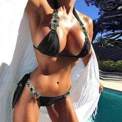 Strój kąpielowy damski seksowny strój kąpielowy kobiety kryształ bandaż Bikini zestaw Push Up wyściełany strój kąpielowy kostium kąpielowy da bagno donna 1