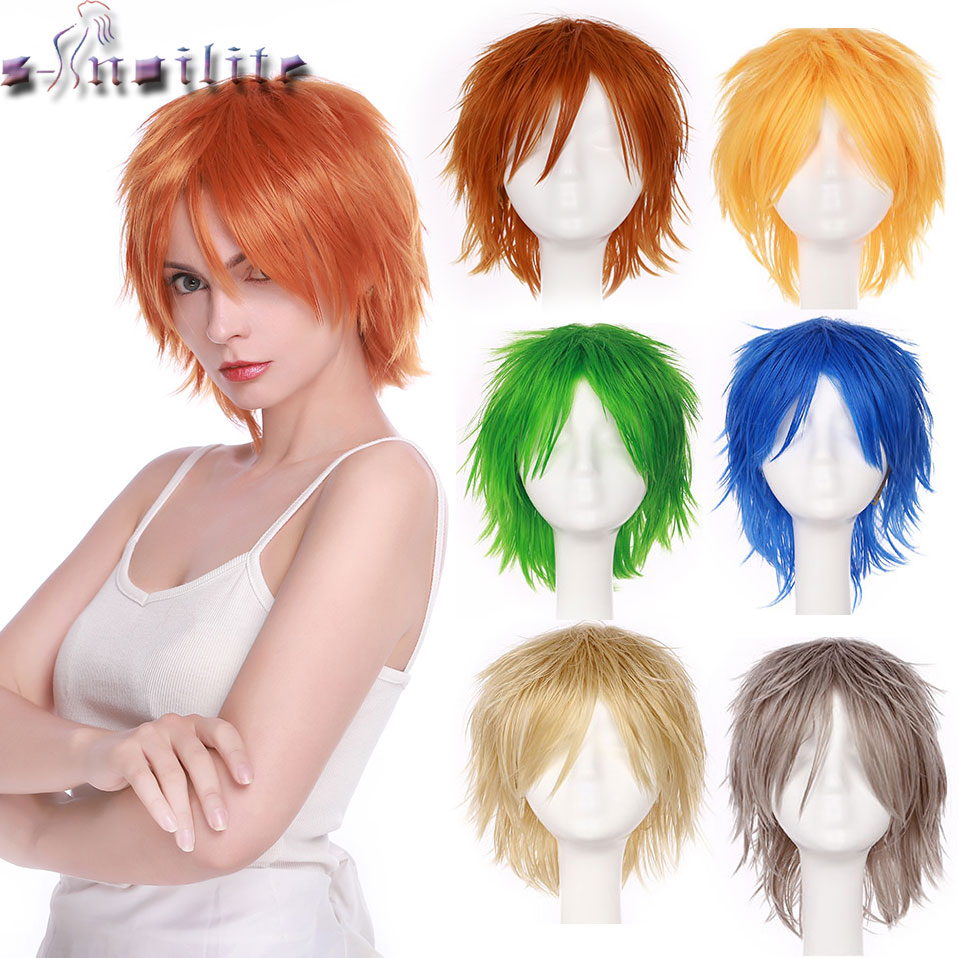 S-noilite Black White Purple Red Short Hair Cosplay Wig 12inch High Temperature Fiber Synthetic Hair Wigs Anime Wig Unisex