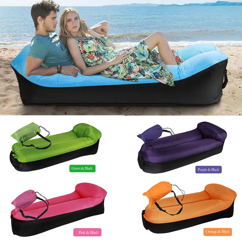 Beach Bed Inflatable Lazy Sofa Lounger Air Hangout Outdoor Lawn Portable Seat Chair Couc0h Fun Bean Bag For Adults Foldable