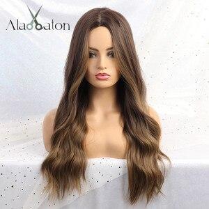 Image 5 - EATON perruque synthétique longue ondulée grise, noire, brune et grise pour femmes, perruque naturelle avec raie centrale résistante à la chaleur