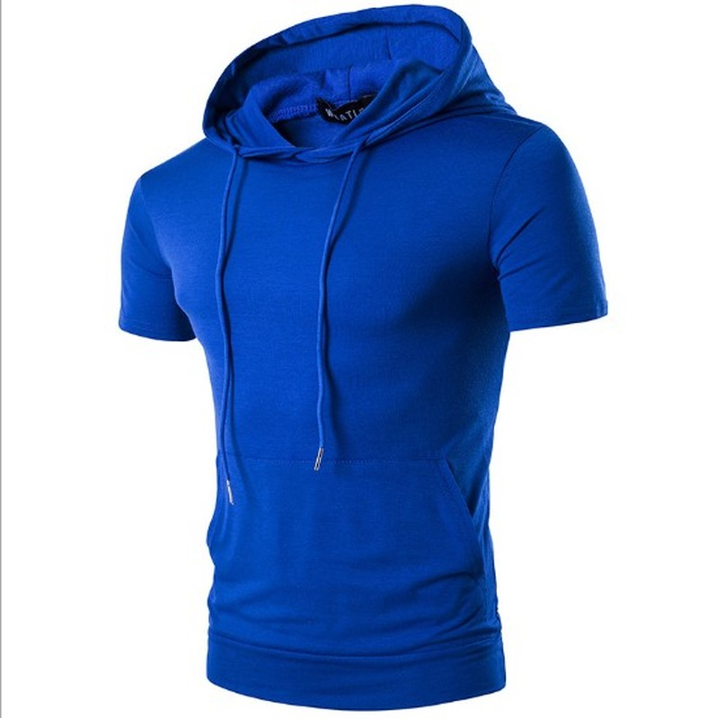 ZOGAA Summer 2019 Mens Hooded Big Pocket Short Sleeve Hoodies For Male Solid Color High Street Hip-Hop Sweatershirt Men Clothing