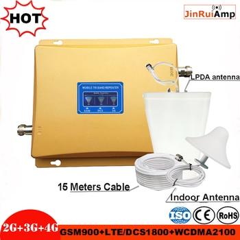 Трехполосный Усилитель GSM повторитель 900 1800 2100 GSM DCS WCDMA 2G 3G 4G LTE усилитель сигнала сотовый ретранслятор сигнала Комплект