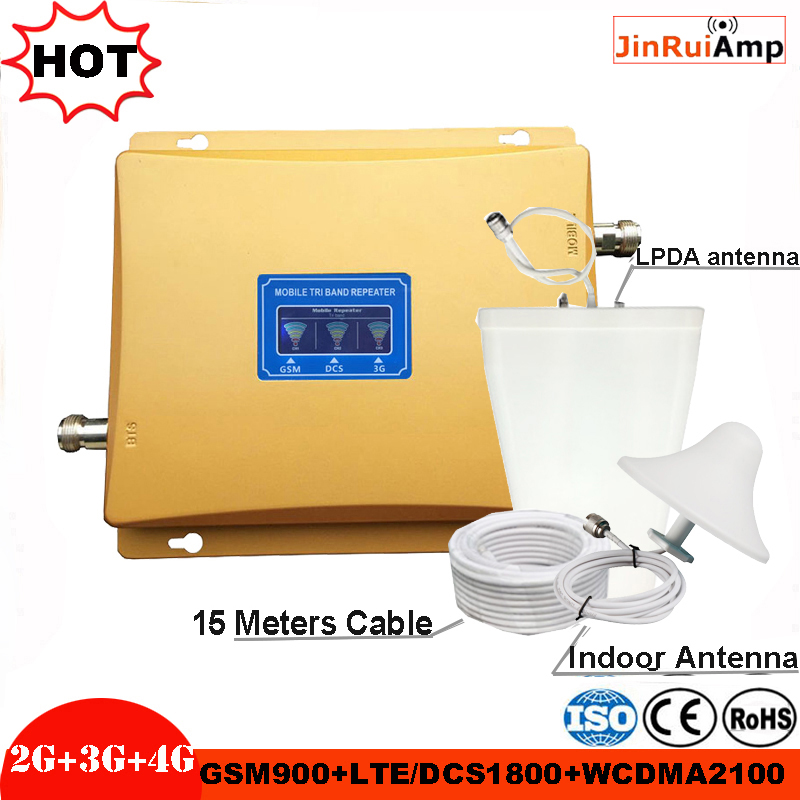 Tri Band Amplifier GSM Repeater 900 1800 2100 GSM DCS WCDMA 2G 3G 4G LTE Signal Booster Cellular Signal Repeater Kit