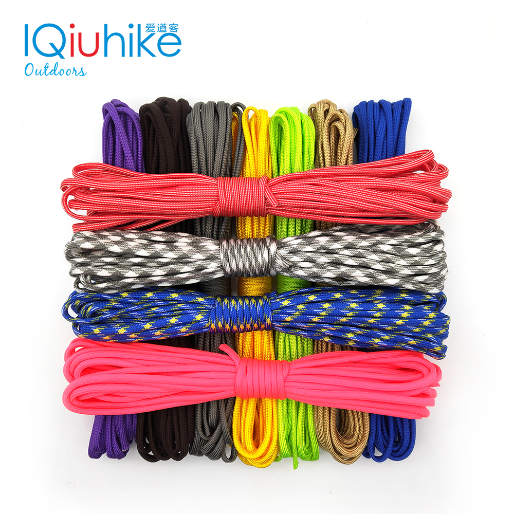 550 Paracord Parachute Cord Lanyard Tent Rope Guyline Mil Spec Type III 7 Strand 5M 10M,20M,31M For Hiking Camping 208 Colo