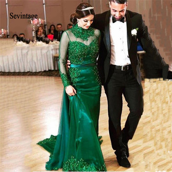 цена на Sevintage Mermaid High Neck Celebrity Dresses Long Sleeves Red Carpet Dress Lace Appliques Beaded Evening Party Gowns