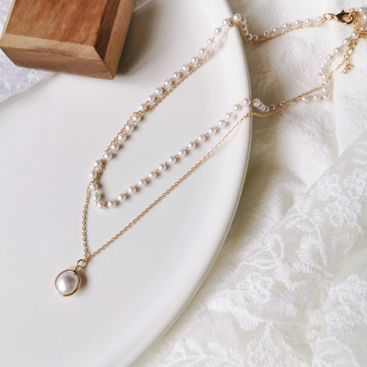 2019 Simple Chain Floating Pearl Necklace Charm Wedding Event Choker Necklace