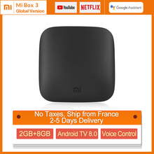 Original Global Xiaomi Mi TV Box 3 4K HDR Android TV 8.1 Ultra HD 2G 8G WIFI Google Cast Netflix Media Player Set top Box Mi Box телеприставка android tv box m8 android amlogic s802 4k hd 2g 8g gpu mali450 xbmc google tv bluetooth 2 4 g 5 g wifi tv android