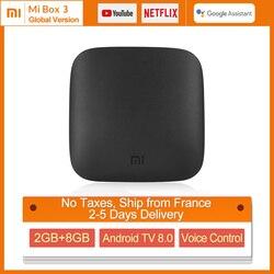 Original Global Xiaomi Mi TV Box 3 4K HDR Android TV 8.1 Ultra HD 2G 8G WIFI Google Cast Netflix Media Player Set top Box Mi Box