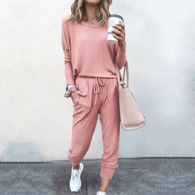 Женский спортивный костюм из двух предметов Розовый Топ с длинным