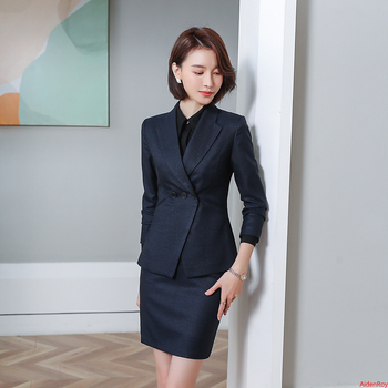 Black Elegant Formal Office Lady Uniform Women Suits With Skirt Work Wear Long Sleeve Blazer Skirt Set Business Suits 2 piece formal work wear uniform styles professional spring summer business suit vest skirt ol blazers women skirt suits outfits sets