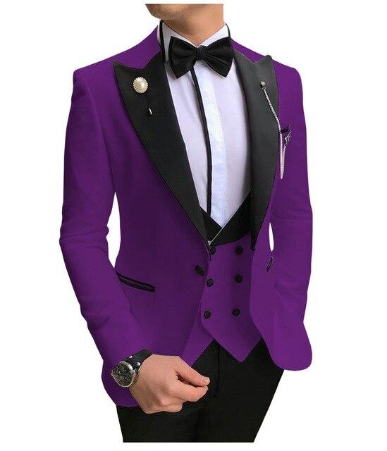 New Italian Design 2020 Elegant Brand Slim Fit Smoking Suit Men Costume 3 Pieces Homme Purple Prom Tuxedo Groom Suits For Men