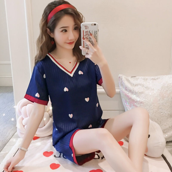 Pajamas For Women 2020 Summer Cute Print Short Sleeve Silk V-neck Sleepwear Set New Lonxu Silk Pajamas Sets Young Girl