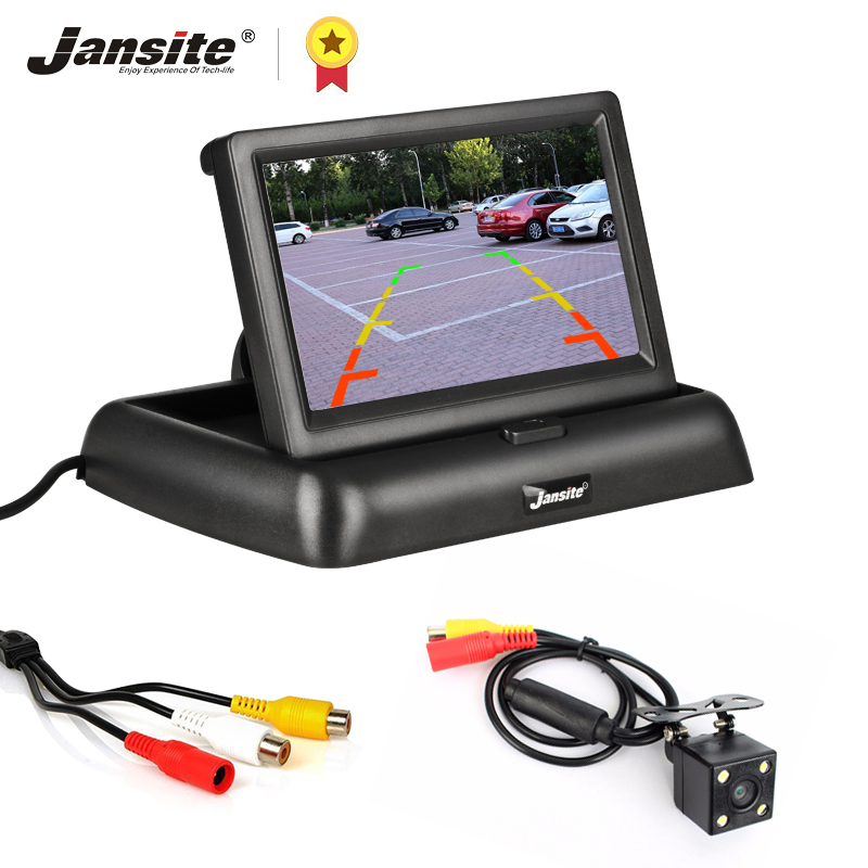 Jansite 4 3 inch Foldable Car Monitor TFT LCD Display Cameras Reverse Camera Parking System for Car Rearview Monitors NTSC PAL