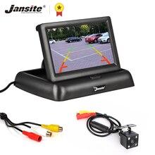 Jansite 4.3 polegada dobrável monitor do carro tft lcd câmeras câmera reversa sistema de estacionamento para monitores retrovisor do carro ntsc pal
