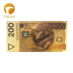 10 шт./лот цветные Золотые Фольга банкноты Польша 200 PLN банкноты для деловых подарков Прямая поставка
