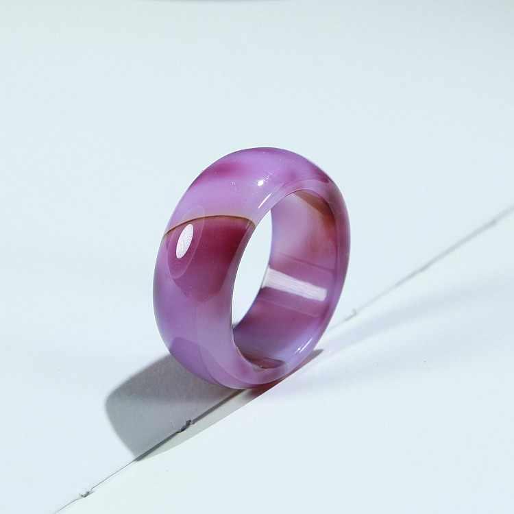 Chalcedony Unisex ธรรมชาติ Agate Carnelian อัญมณี Solid Band แหวนหยกขนาด 7-9 Meditation Relax Healing ผู้หญิง luck ของขวัญ