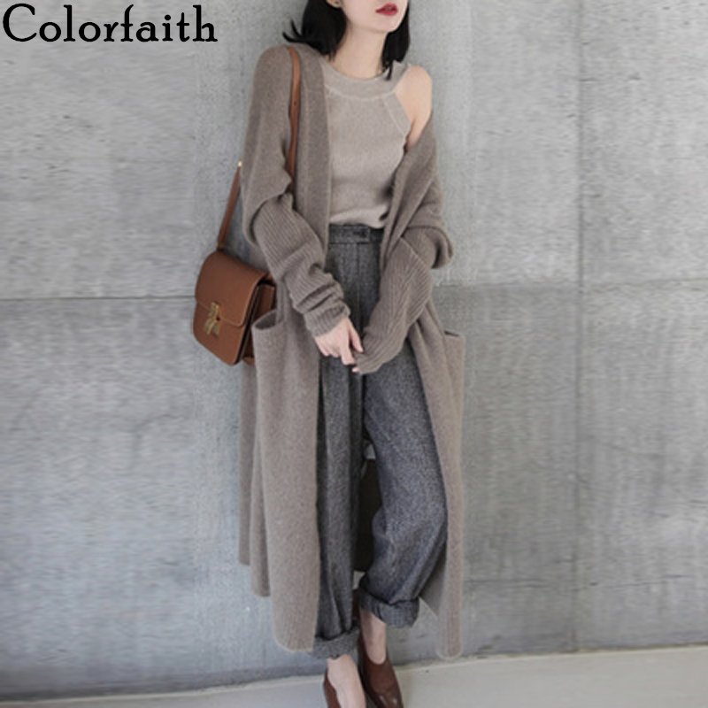 Colorfaith New 2019 Autumn Winter Women's Sweaters Korean Style Straight Minimalist Casual Long Cardigan Ladies Tops SWC8133