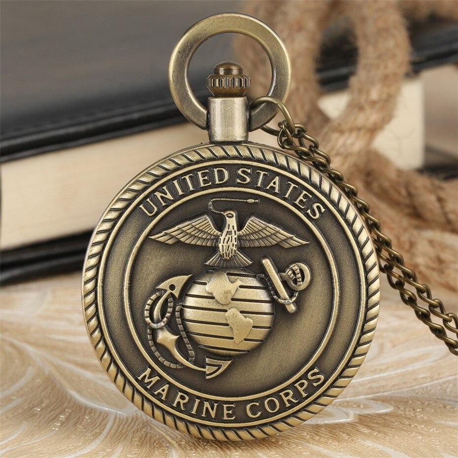 Antique Bronze U.S. Theme Quartz Pendant Pocket Watch For Men Women Bronze Necklace Chain