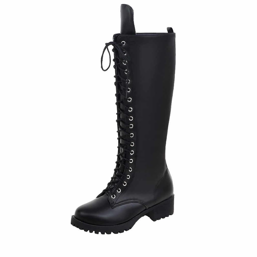 สุภาพสตรี Elegant รองเท้าสำหรับฤดูหนาว 2019 ใหม่มาถึงส้นผู้หญิงสีดำเข่ารองเท้าบูทสูง Laces