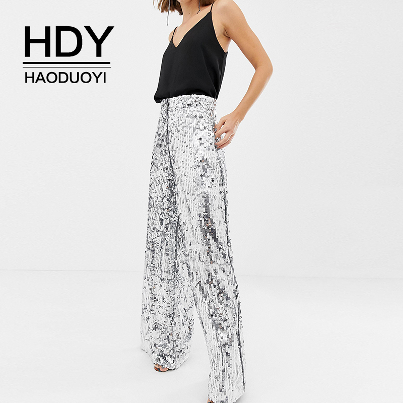 HDY Haoduoyi 2019 Wide Leg Sequins Pants Woman Glitter Silver High Waist Trousers For Party Dance Long Section Wide Leg Pants
