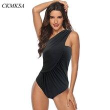 2019 Sexy One Piece Swimsuit Women Swimwear Shoulder Ruched Tummy Control Monokini Push Up Bodysuit BathingSuit Beach Female