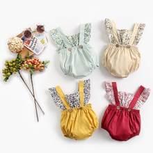 Sanlutoz/Детские комбинезоны с цветочным рисунком для девочек; Летняя одежда без рукавов для малышей; Милая одежда для маленьких девочек