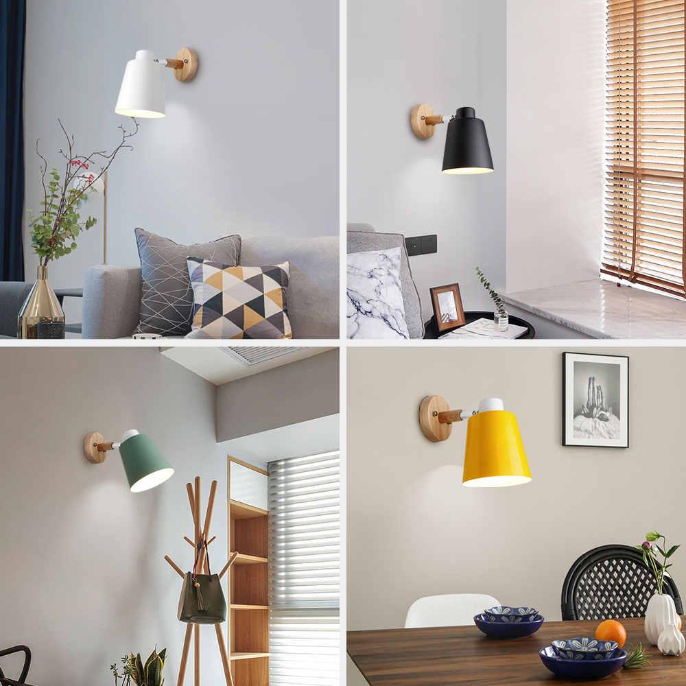 Dinding Kayu Lampu Samping Tempat Tidur Lampu Dinding Sconce Dinding Modern Lampu Dinding untuk Kamar Tidur Nordic Macaroon 6 Warna Kepala Kemudi E27 85-285V