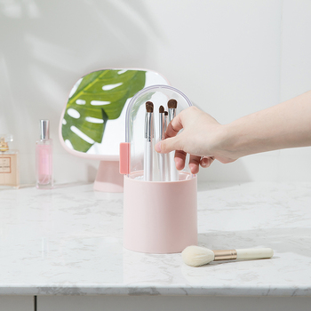 Nueva exhibición de pinceles de maquillaje, soporte de almacenamiento, cubo, caja organizadora a prueba de polvo, contenedor con perla de plástico con tapa transparente