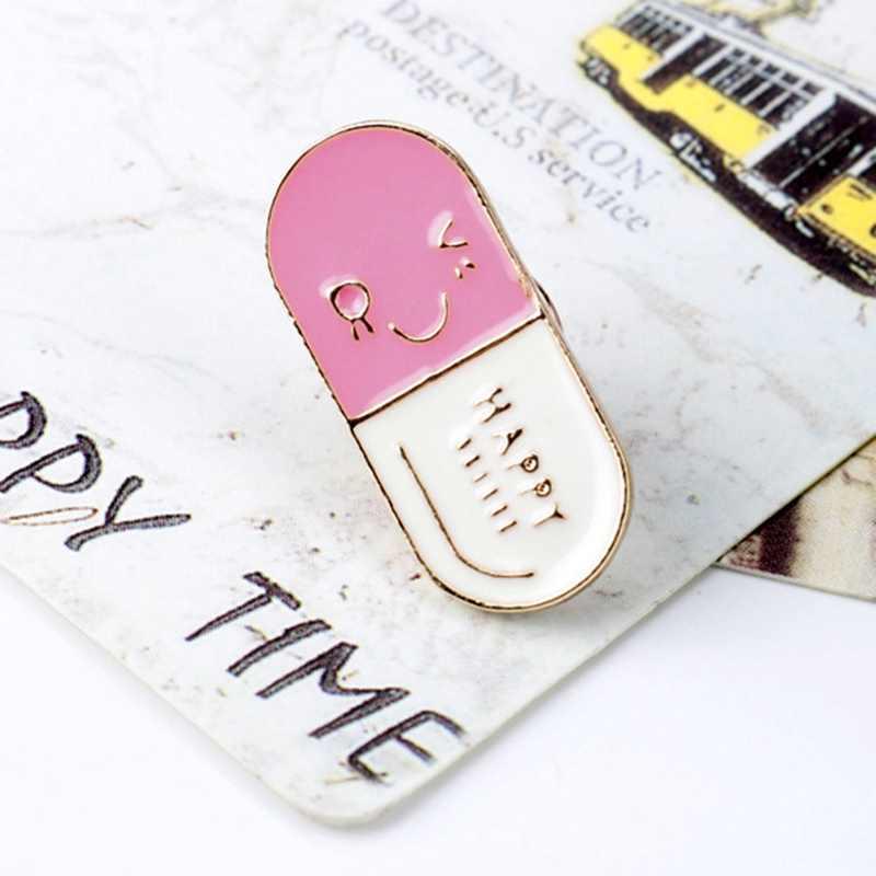 Happ ~ y 알약 에나멜 핀 크리 에이 티브 의학 배지 웃는 얼굴 브로치 텍스트 100mg 귀여운 핀 의사 간호사 약사 선물