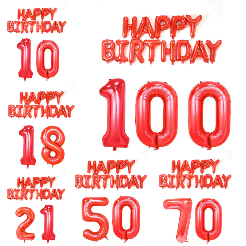 15pcs red Balloon Banner 18 21 <font><b>30</b></font> 40 50 60 <font><b>Birthday</b></font> Party <font><b>Decoration</b></font> Adult <font><b>Birthday</b></font> Letter Number Foil Champagne Balloon globos image