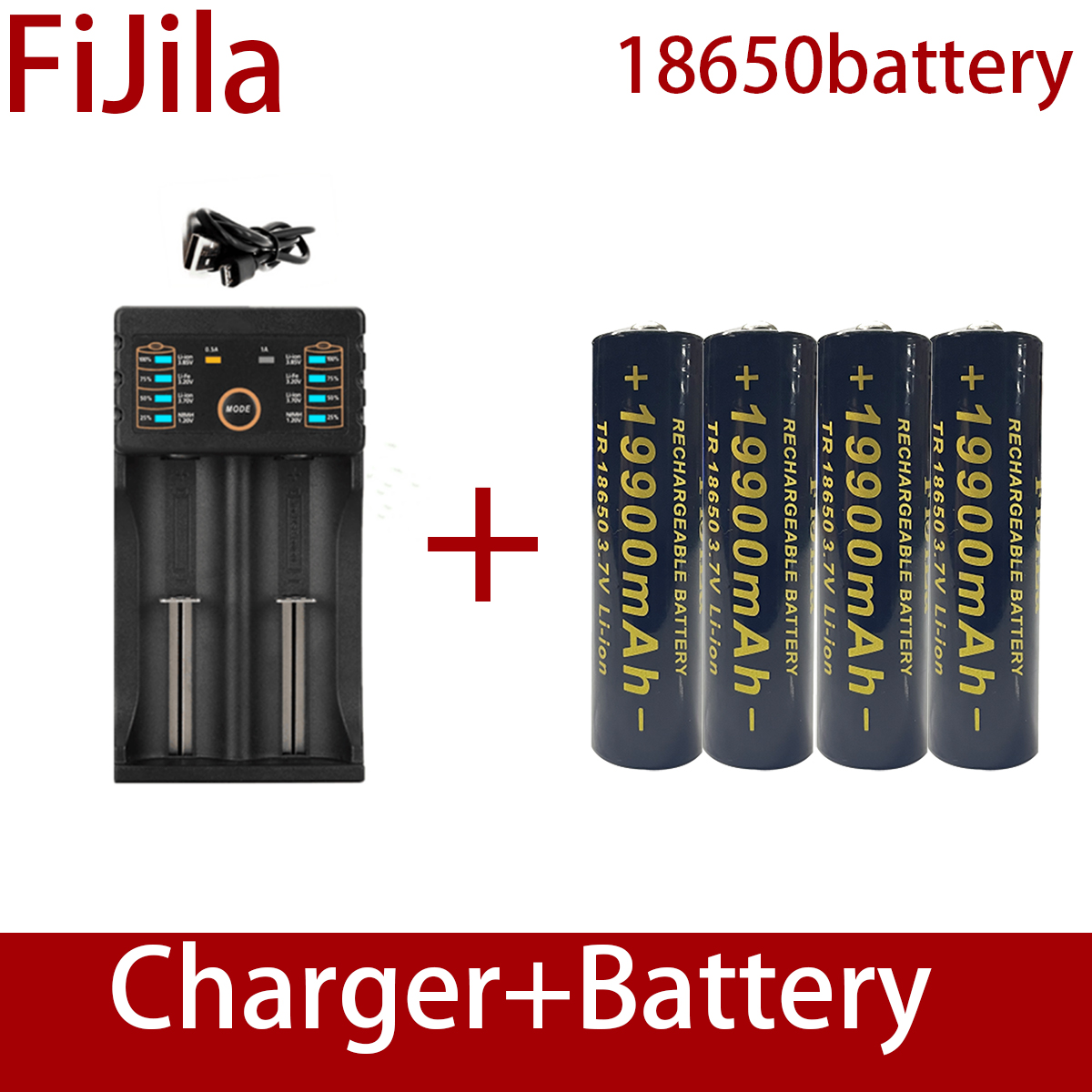 100% Новые 18650 литиевые батареи фонарик 18650 перезаряжаемая батарея 3,7 в 19900 мАч для фонарика + зарядное устройство