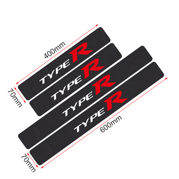 For Honda Odyssey Door Sill Protector Reflective 4D Carbon Fiber Sticker Door Entry Guard Door Sill Scuff Plate Stickers Auto Accessories 4Pcs Red
