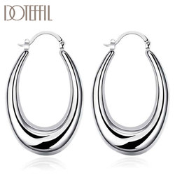DOTEFFIL 925 Sterling Silver U-Shaped Round Hoop Earrings Women Party Gift Fashion Charm Wedding Engagement Jewelry
