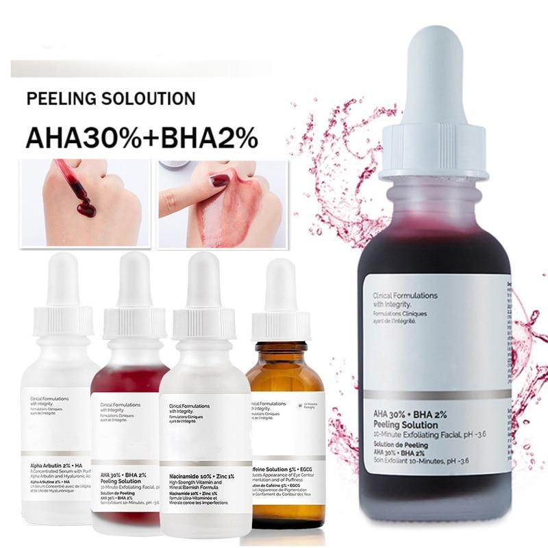 The Ordinary Peeling Solution AHA 30%+ BHA 2% Hyaluronic Acid Firming Anti Wrinkle 30ml Anti Aging Moisturizer Face Care Serum