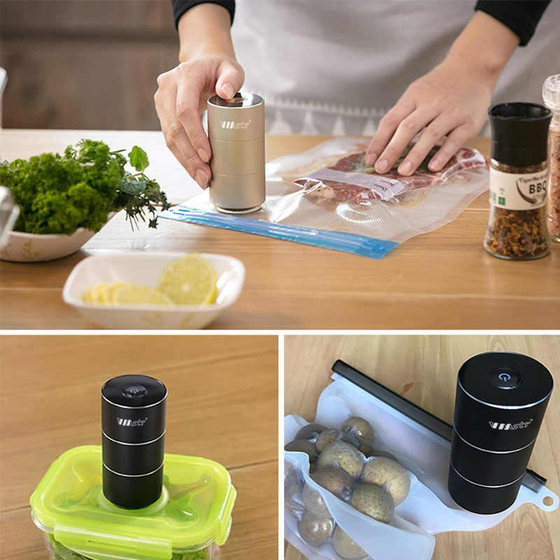 Taşınabilir Mini otomatik sıkıştırma vakum pompası mühürleyen seyahat ev mutfak USB şarj edilebilir vakum paketleme makinesi