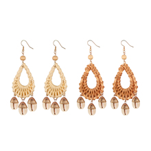 BONISKISS Fashion Bohemian Rattan Shell Earrings Handmade Straw Wicker Braid Woven Drop for Girl Woman Jewelry Gift