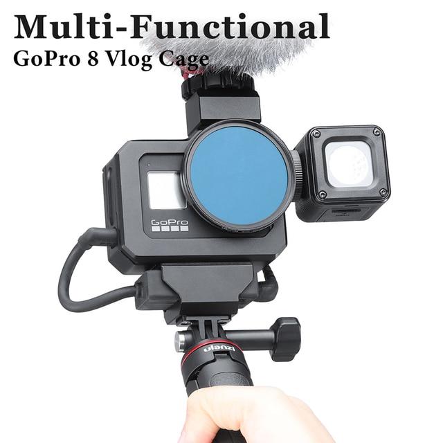 Ulanzi G8 5 boîtier en métal Vlog Cage avec chaussure froide pour GoPro Hero 8 noir étendre Microphone remplir lumière Vlog caméra accessoire